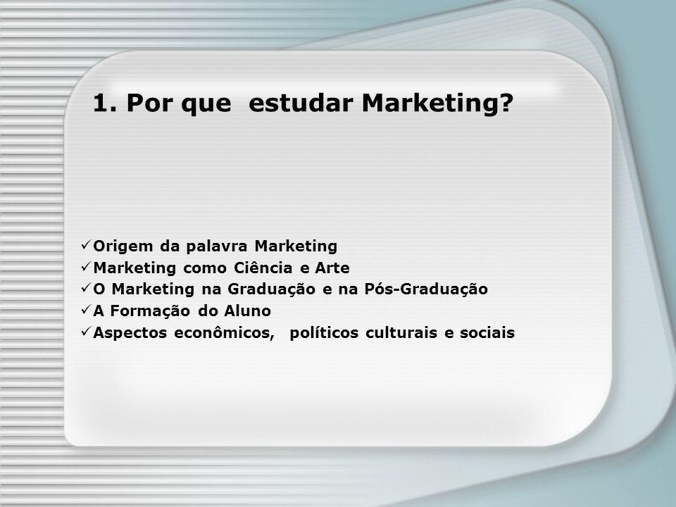 1. Por que estudar Marketing? Origem da palavra Marketing Marketing como Ciência e Arte O Marketing na Graduação e na Pós-Graduação A Formação do Alun