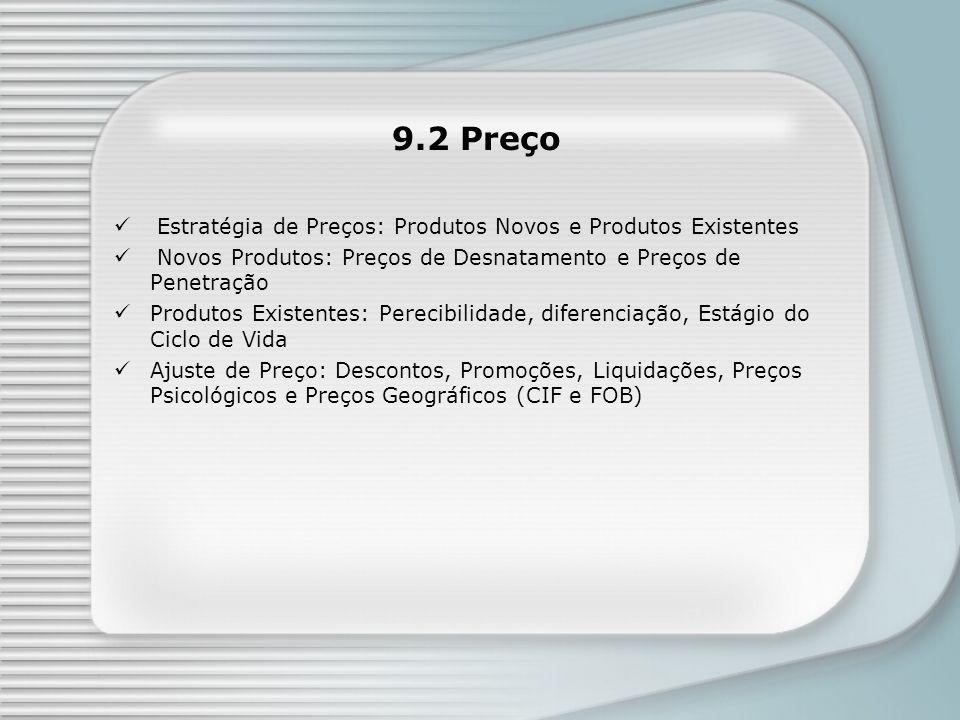 Estratégia de Preços: Produtos Novos e Produtos Existentes Novos Produtos: Preços de Desnatamento e Preços de Penetração Produtos Existentes: Perecibi
