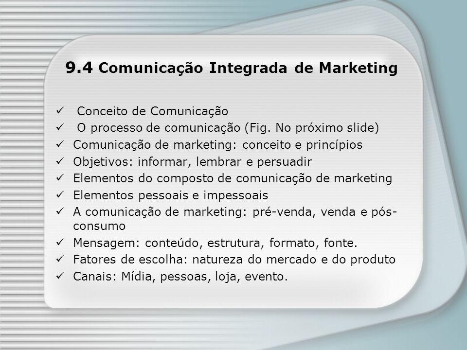 9.4 Comunicação Integrada de Marketing Conceito de Comunicação O processo de comunicação (Fig. No próximo slide) Comunicação de marketing: conceito e