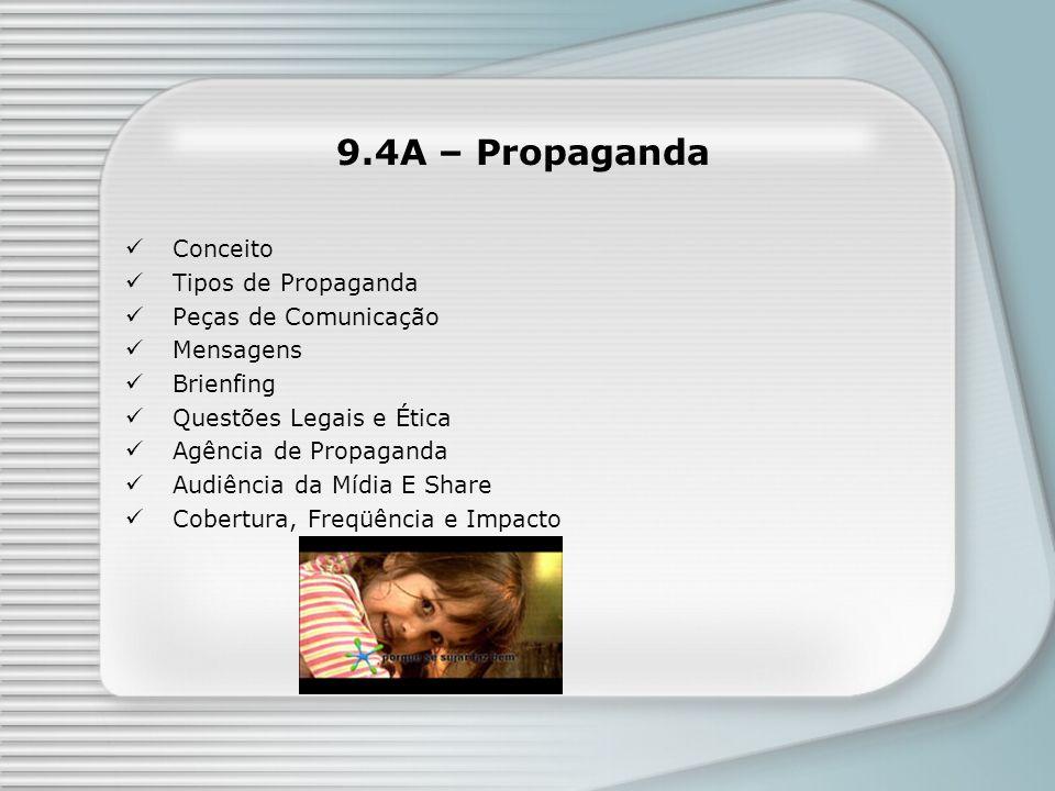 9.4A – Propaganda Conceito Tipos de Propaganda Peças de Comunicação Mensagens Brienfing Questões Legais e Ética Agência de Propaganda Audiência da Míd