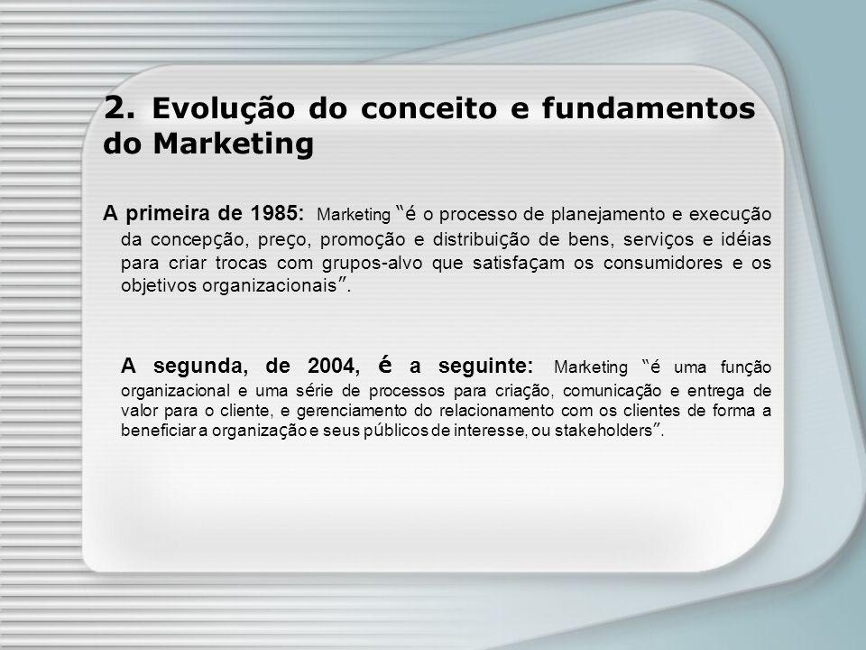 A primeira de 1985: Marketing é o processo de planejamento e execu ç ão da concep ç ão, pre ç o, promo ç ão e distribui ç ão de bens, servi ç os e id