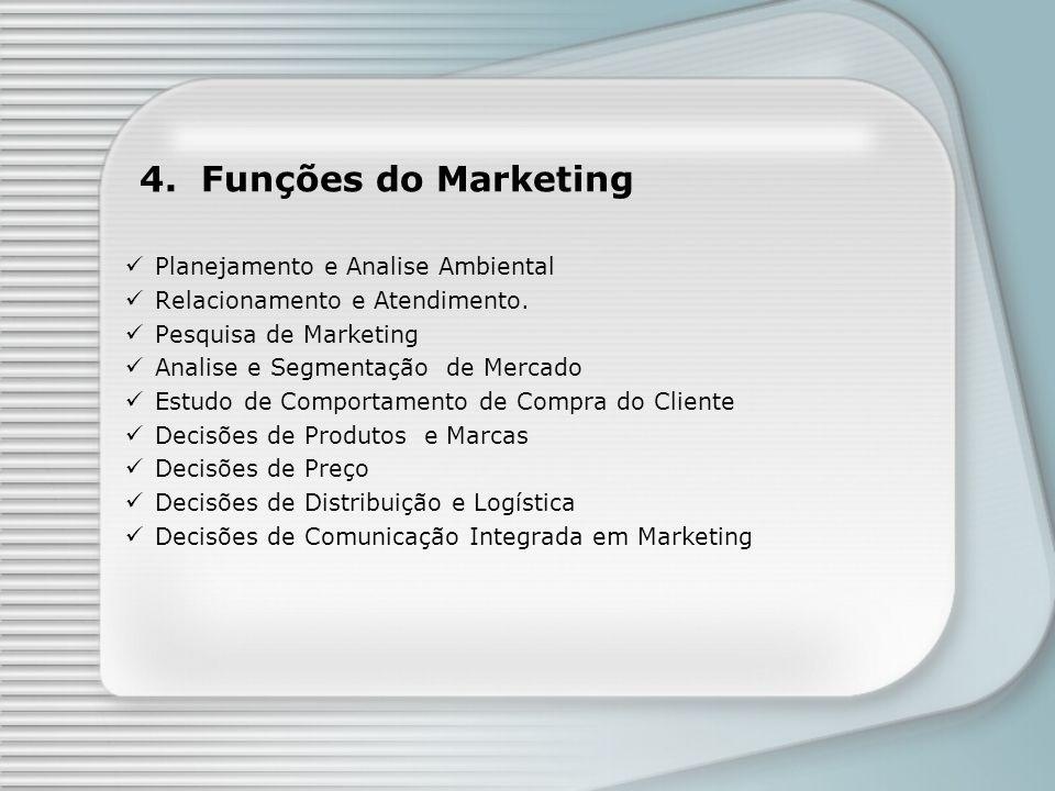 4. Funções do Marketing Planejamento e Analise Ambiental Relacionamento e Atendimento. Pesquisa de Marketing Analise e Segmentação de Mercado Estudo d