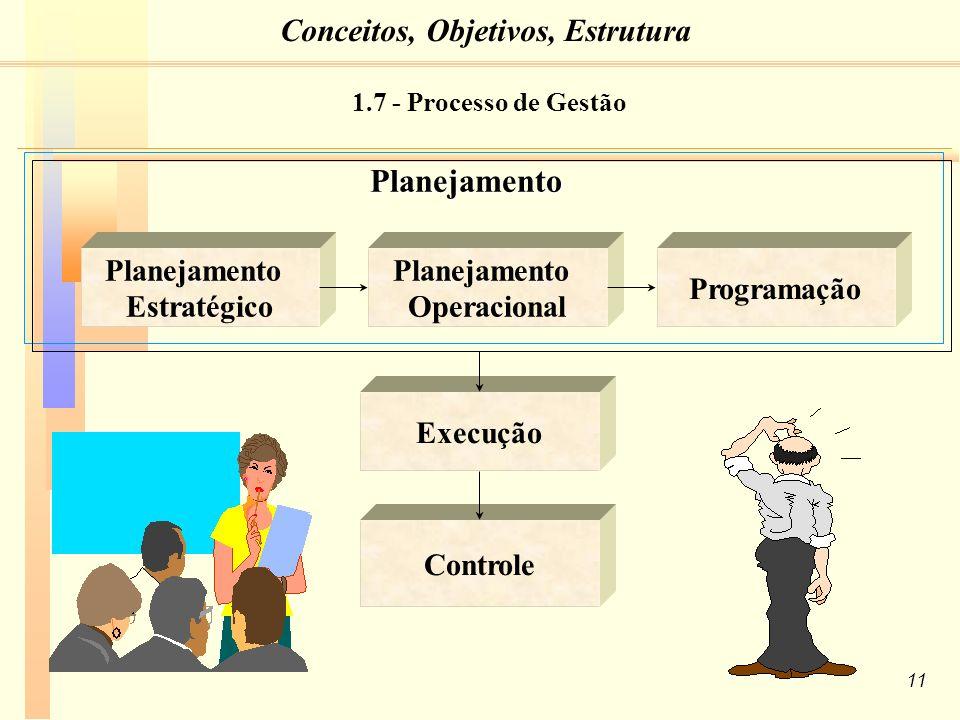 11 Planejamento Estratégico Planejamento Operacional ProgramaçãoPlanejamento Execução Controle 1.7 - Processo de Gestão Conceitos, Objetivos, Estrutura