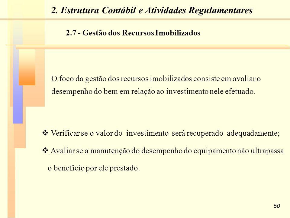 50 O foco da gestão dos recursos imobilizados consiste em avaliar o desempenho do bem em relação ao investimento nele efetuado.