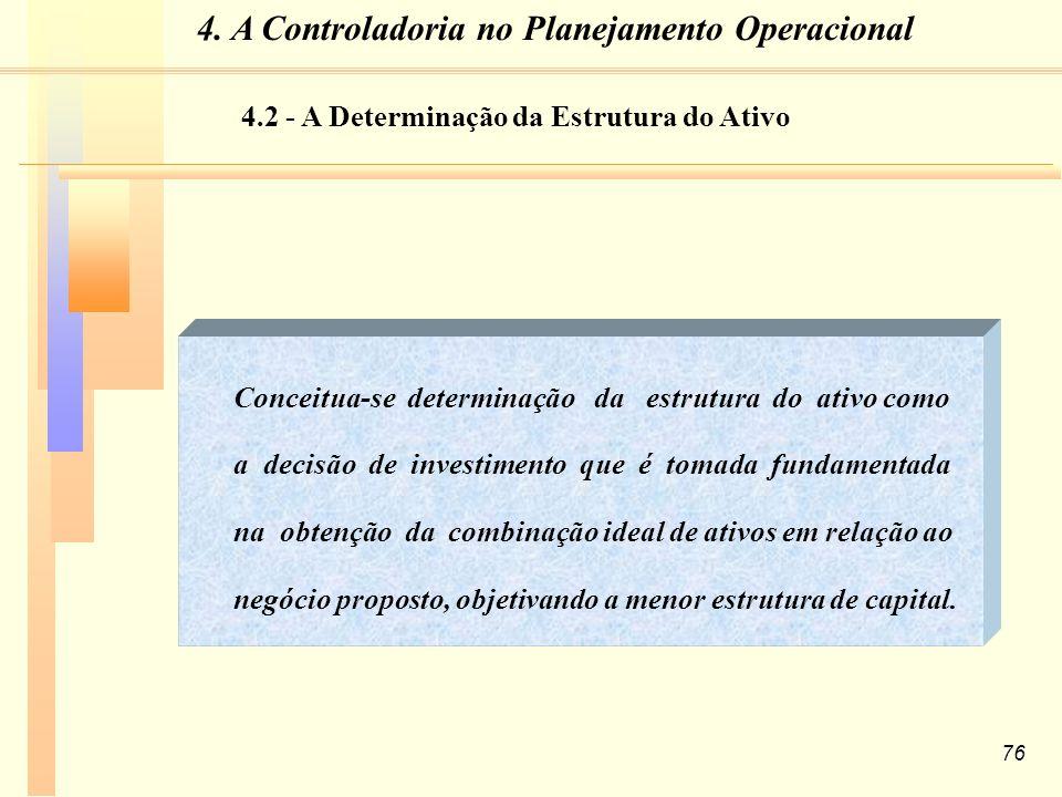76 Conceitua-se determinação da estrutura do ativo como a decisão de investimento que é tomada fundamentada na obtenção da combinação ideal de ativos em relação ao negócio proposto, objetivando a menor estrutura de capital.
