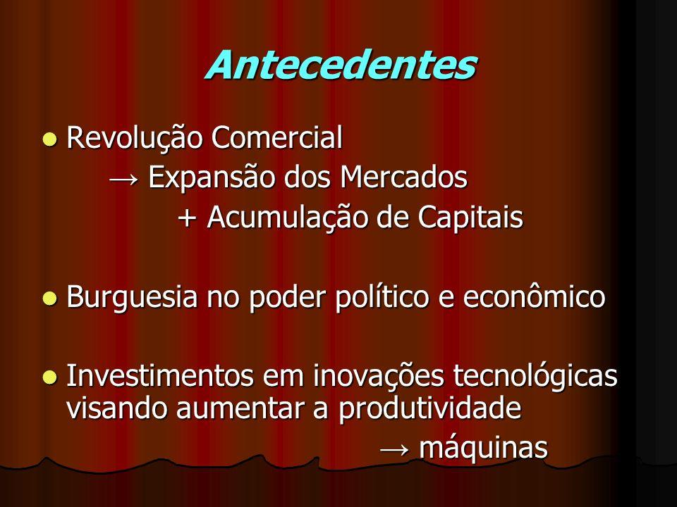 Antecedentes Revolução Comercial Revolução Comercial Expansão dos Mercados Expansão dos Mercados + Acumulação de Capitais Burguesia no poder político
