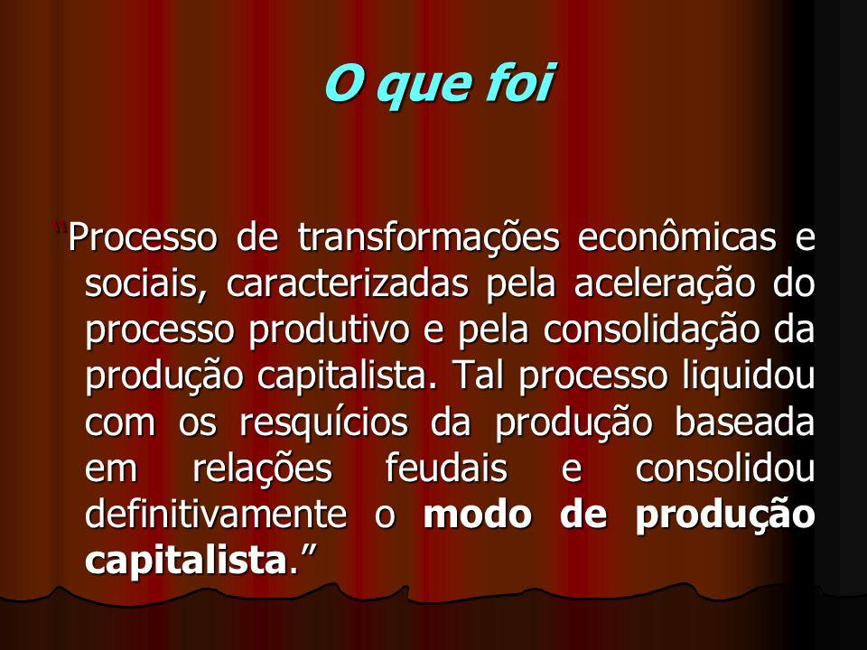 O que foi Processo de transformações econômicas e sociais, caracterizadas pela aceleração do processo produtivo e pela consolidação da produção capita
