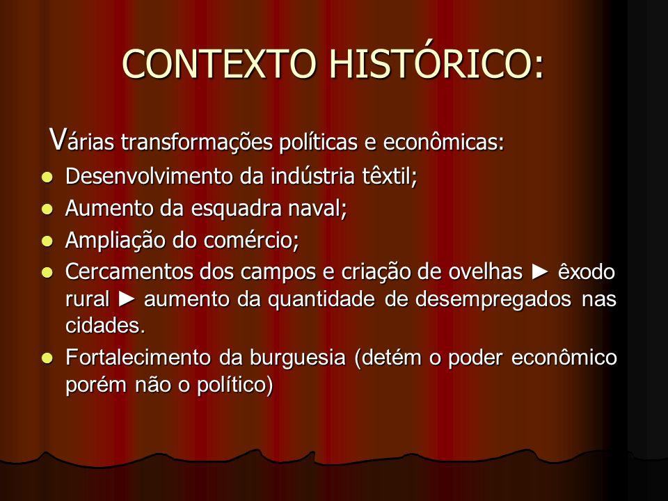 CONTEXTO HISTÓRICO: V árias transformações políticas e econômicas: V árias transformações políticas e econômicas: Desenvolvimento da indústria têxtil;