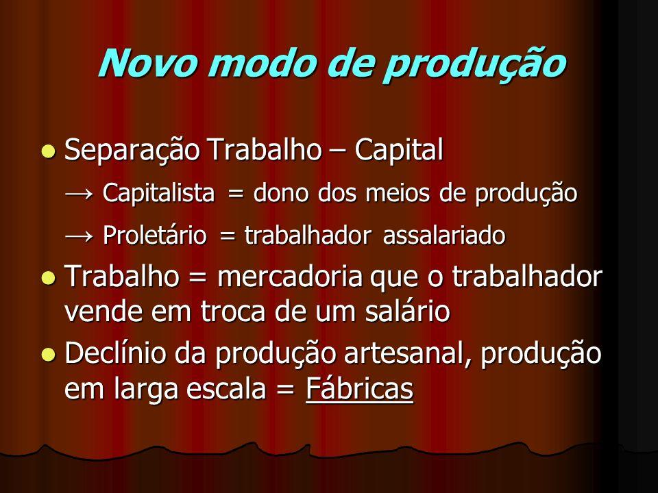 Novo modo de produção Separação Trabalho – Capital Separação Trabalho – Capital Capitalista = dono dos meios de produção Capitalista = dono dos meios