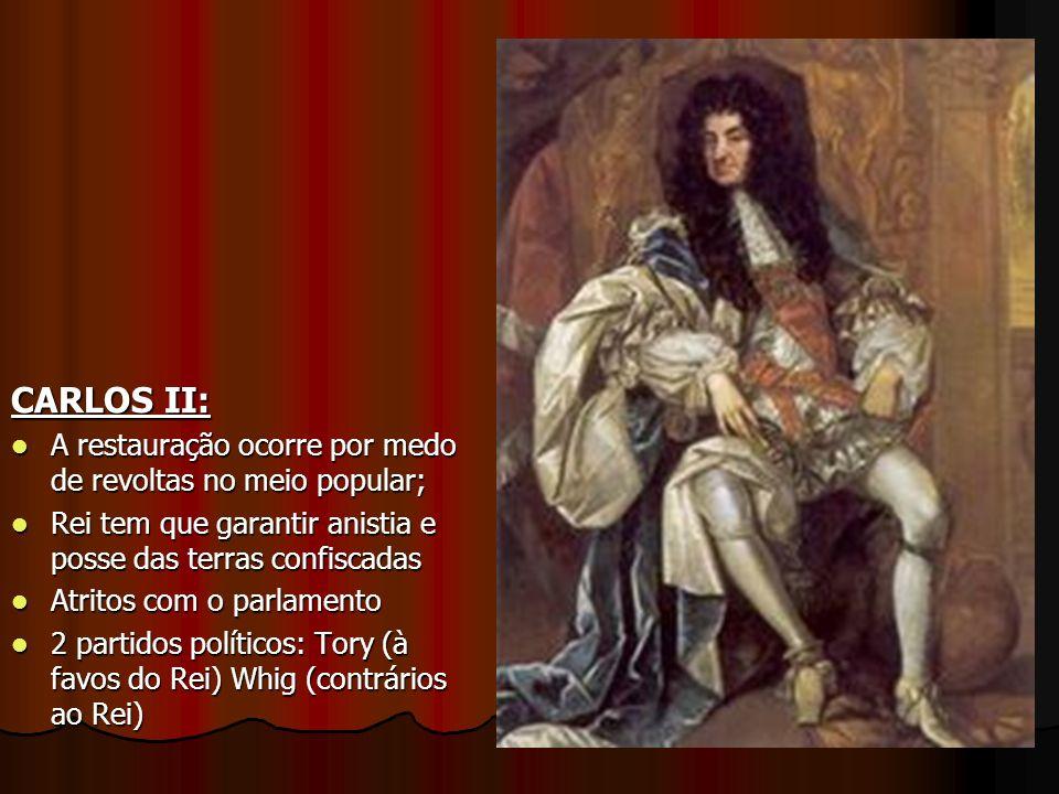 CARLOS II: A restauração ocorre por medo de revoltas no meio popular; A restauração ocorre por medo de revoltas no meio popular; Rei tem que garantir