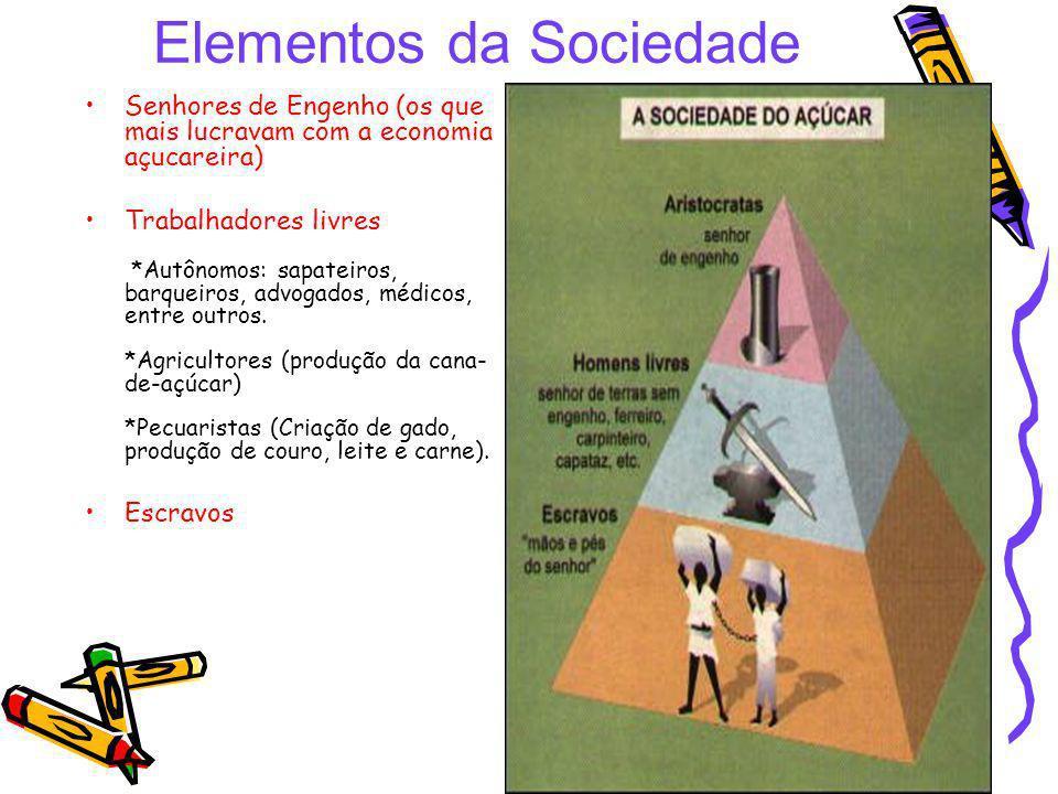 Elementos da Sociedade Senhores de Engenho (os que mais lucravam com a economia açucareira) Trabalhadores livres *Autônomos: sapateiros, barqueiros, a