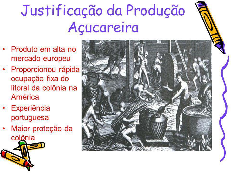 Justificação da Produção Açucareira Produto em alta no mercado europeu Proporcionou rápida ocupação fixa do litoral da colônia na América Experiência