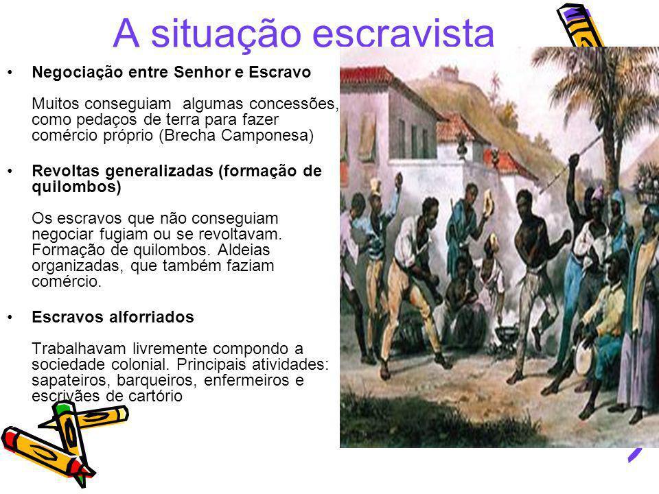 A situação escravista Negociação entre Senhor e Escravo Muitos conseguiam algumas concessões, como pedaços de terra para fazer comércio próprio (Brech