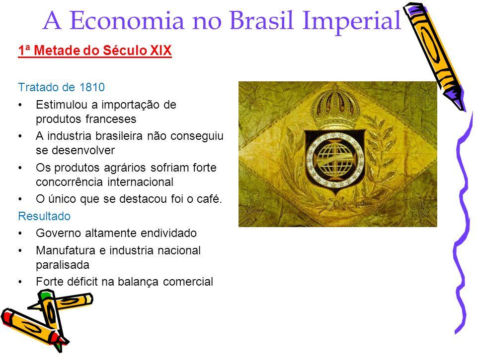 A Economia no Brasil Imperial 1ª Metade do Século XIX Tratado de 1810 Estimulou a importação de produtos franceses A industria brasileira não consegui