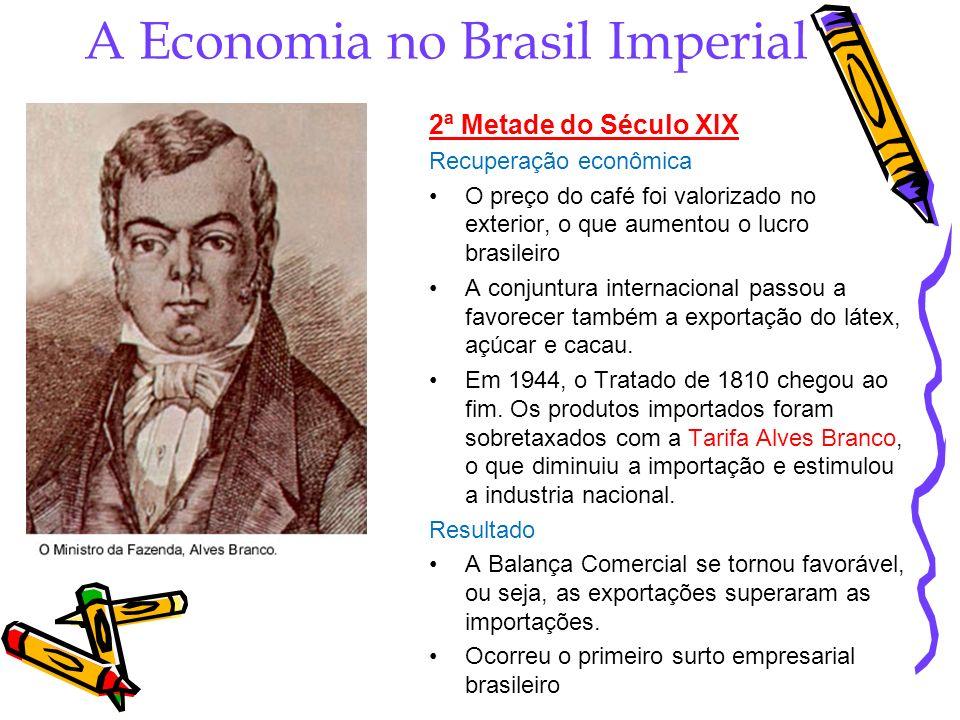 A Economia no Brasil Imperial 2ª Metade do Século XIX Recuperação econômica O preço do café foi valorizado no exterior, o que aumentou o lucro brasile