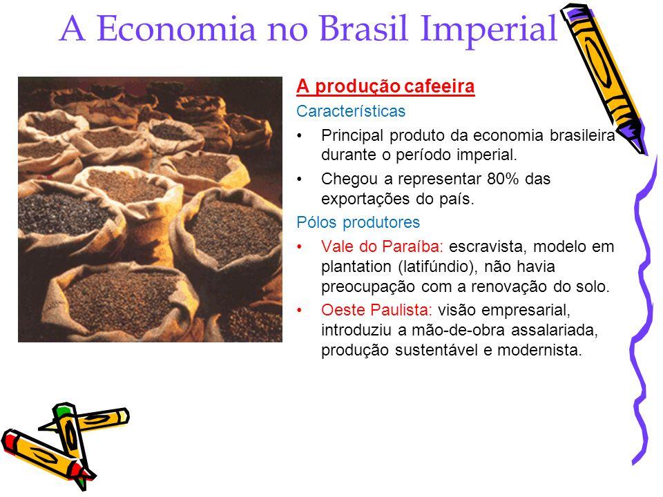 A Economia no Brasil Imperial A produção cafeeira Características Principal produto da economia brasileira durante o período imperial. Chegou a repres