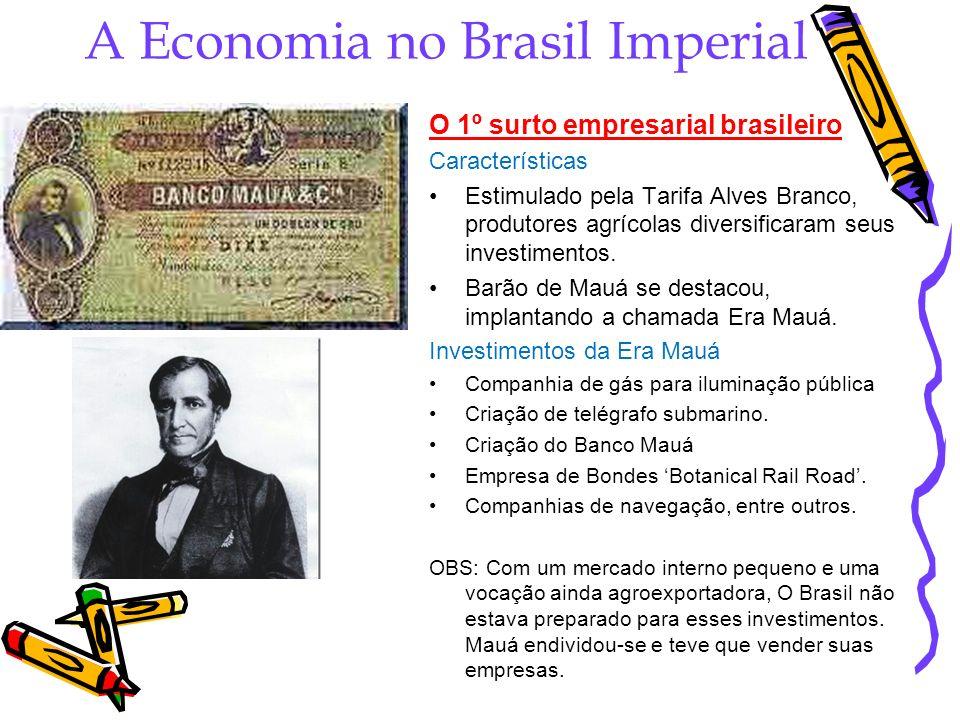 A Economia no Brasil Imperial O 1º surto empresarial brasileiro Características Estimulado pela Tarifa Alves Branco, produtores agrícolas diversificar
