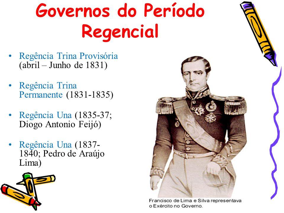 Governos do Período Regencial Regência Trina Provisória (abril – Junho de 1831) Regência Trina Permanente (1831-1835) Regência Una (1835-37; Diogo Ant