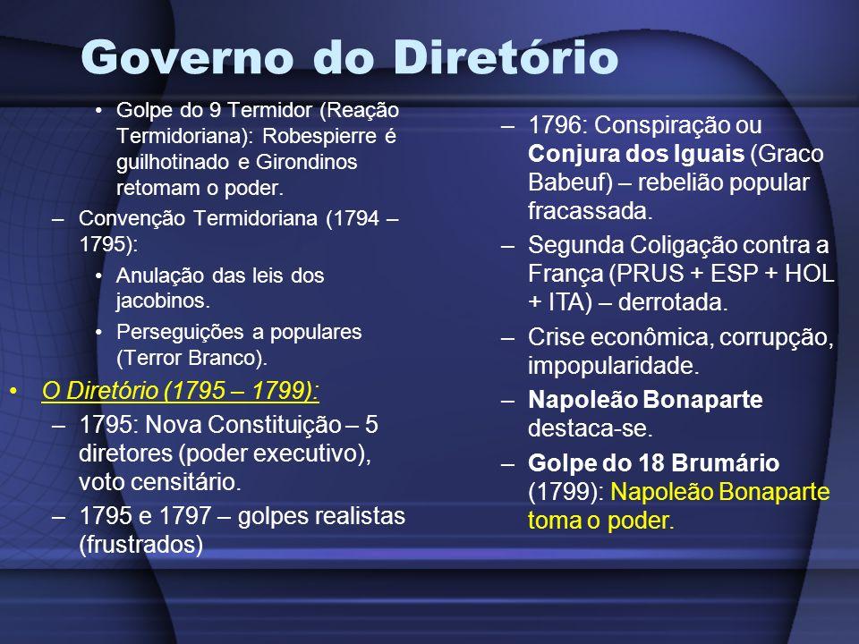 Governo do Diretório Golpe do 9 Termidor (Reação Termidoriana): Robespierre é guilhotinado e Girondinos retomam o poder. –Convenção Termidoriana (1794