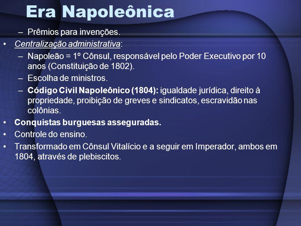 Era Napoleônica –Prêmios para invenções. Centralização administrativa: –Napoleão = 1º Cônsul, responsável pelo Poder Executivo por 10 anos (Constituiç