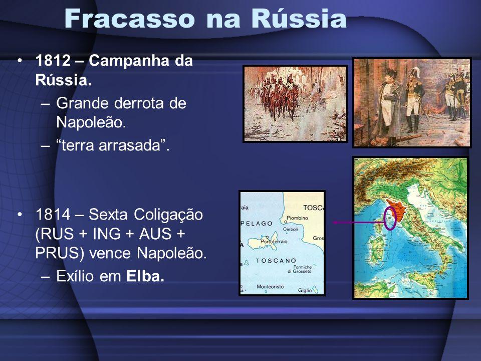 Fracasso na Rússia 1812 – Campanha da Rússia. –Grande derrota de Napoleão. –terra arrasada. 1814 – Sexta Coligação (RUS + ING + AUS + PRUS) vence Napo