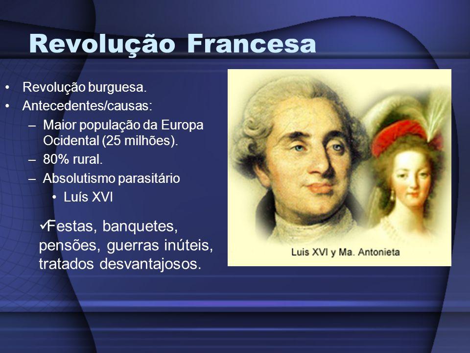 Revolução Francesa Revolução burguesa. Antecedentes/causas: –Maior população da Europa Ocidental (25 milhões). –80% rural. –Absolutismo parasitário Lu