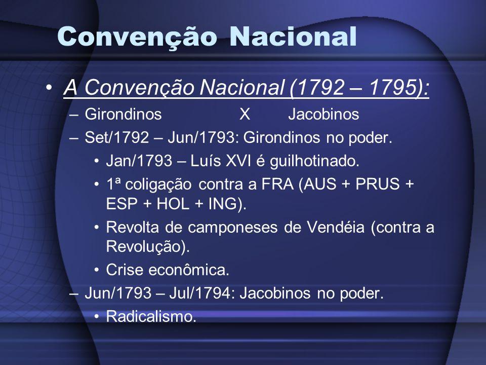 Convenção Nacional A Convenção Nacional (1792 – 1795): –GirondinosXJacobinos –Set/1792 – Jun/1793: Girondinos no poder. Jan/1793 – Luís XVI é guilhoti