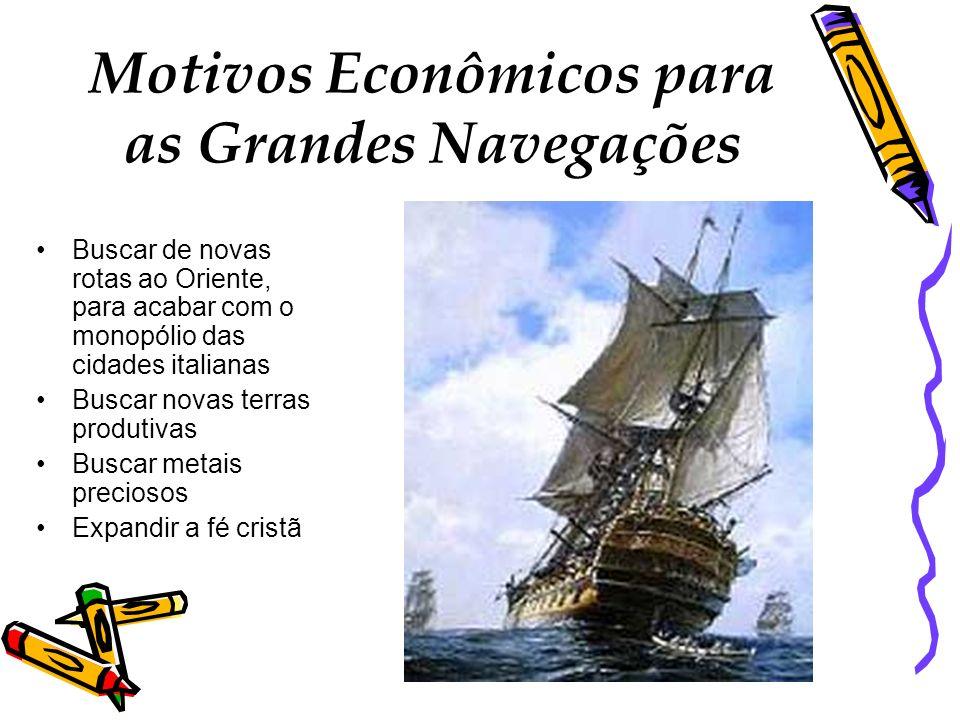 Motivos Econômicos para as Grandes Navegações Buscar de novas rotas ao Oriente, para acabar com o monopólio das cidades italianas Buscar novas terras