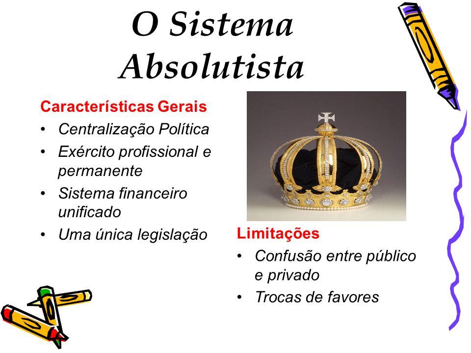 O Sistema Absolutista Características Gerais Centralização Política Exército profissional e permanente Sistema financeiro unificado Uma única legislaç