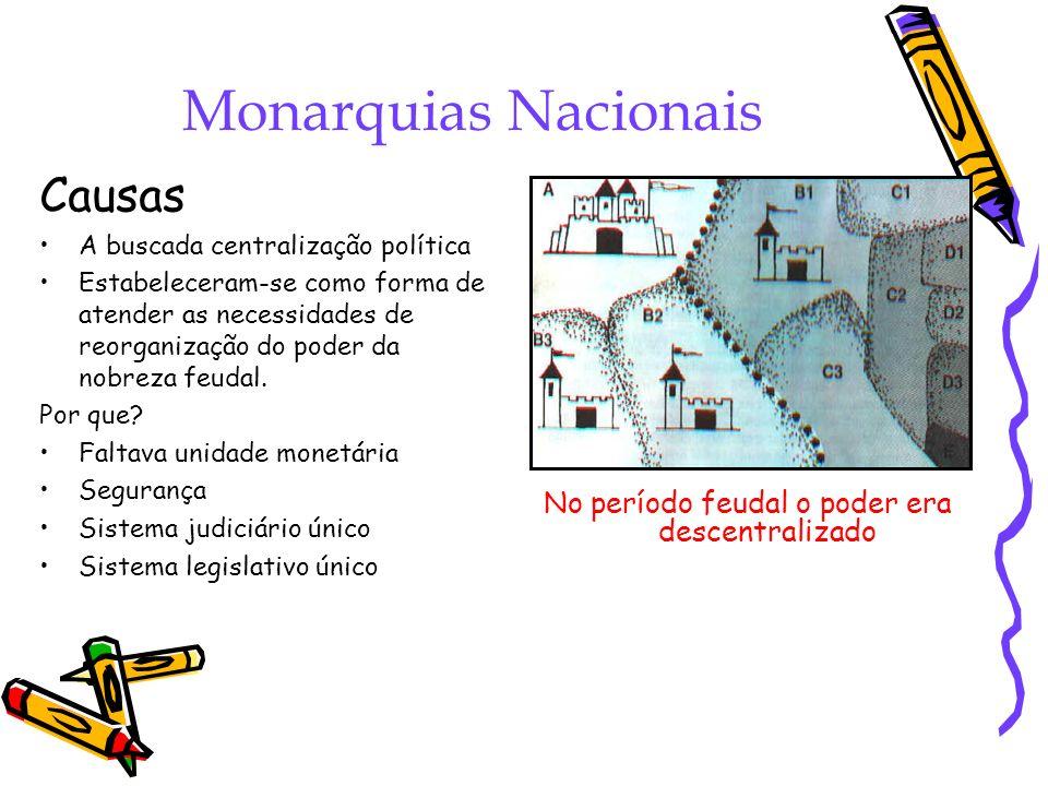 Monarquias Nacionais Causas A buscada centralização política Estabeleceram-se como forma de atender as necessidades de reorganização do poder da nobre