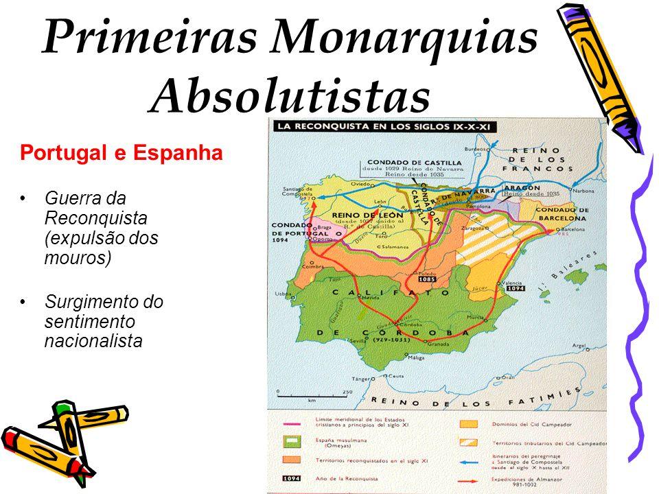 Primeiras Monarquias Absolutistas Portugal e Espanha Guerra da Reconquista (expulsão dos mouros) Surgimento do sentimento nacionalista