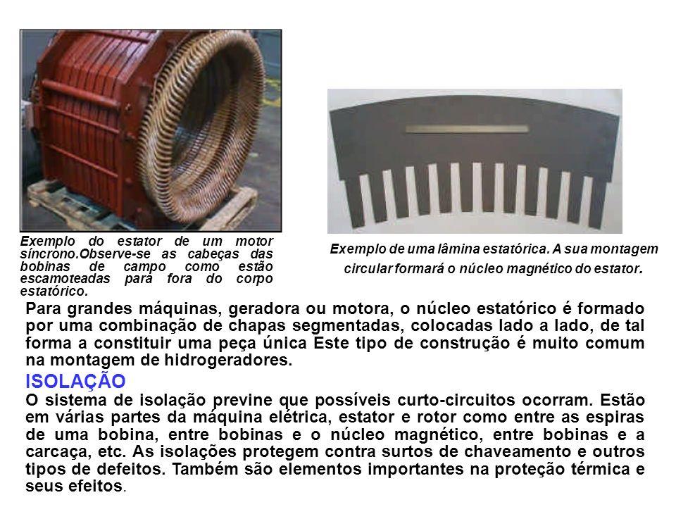 Exemplo do estator de um motor síncrono.Observe-se as cabeças das bobinas de campo como estão escamoteadas para fora do corpo estatórico. Exemplo de u