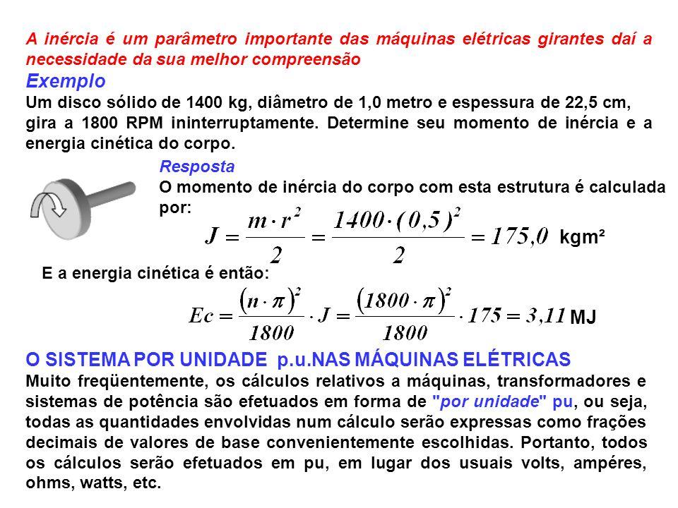 A inércia é um parâmetro importante das máquinas elétricas girantes daí a necessidade da sua melhor compreensão Exemplo Um disco sólido de 1400 kg, di