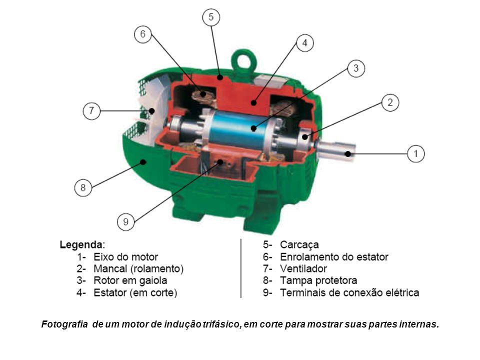 Fotografia de um motor de indução trifásico, em corte para mostrar suas partes internas.