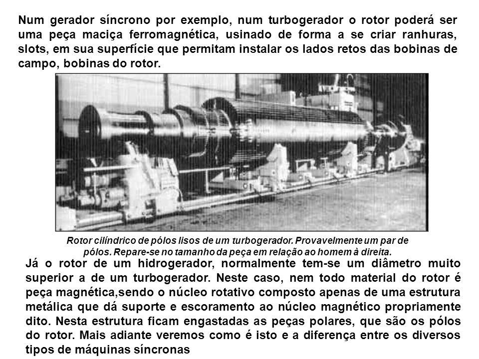 Num gerador síncrono por exemplo, num turbogerador o rotor poderá ser uma peça maciça ferromagnética, usinado de forma a se criar ranhuras, slots, em