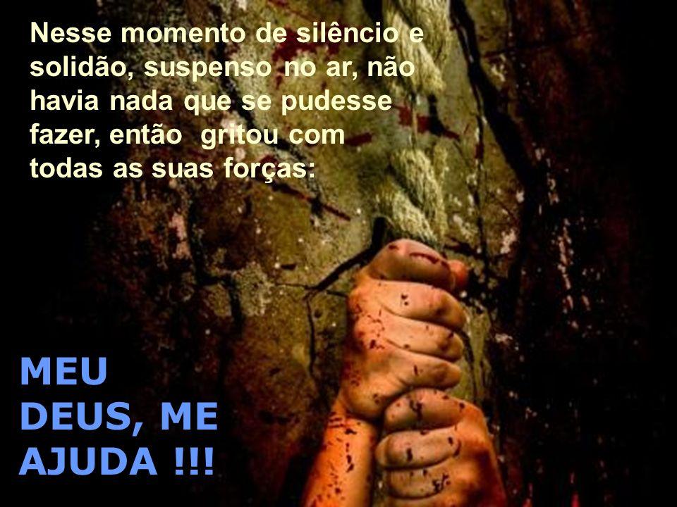 Nesse momento de silêncio e solidão, suspenso no ar, não havia nada que se pudesse fazer, então gritou com todas as suas forças: MEU DEUS, ME AJUDA !!