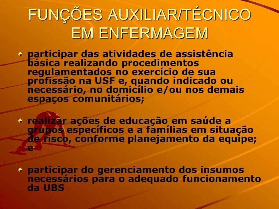 FUNÇÕES AUXILIAR/TÉCNICO EM ENFERMAGEM participar das atividades de assistência básica realizando procedimentos regulamentados no exercício de sua pro