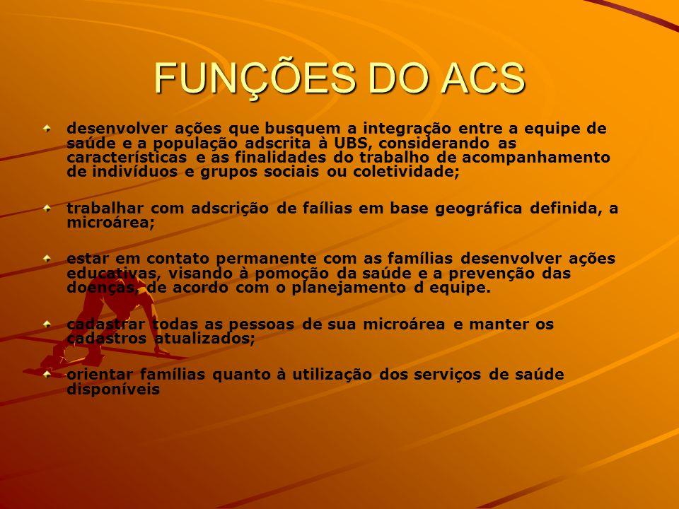 FUNÇÕES DO ACS desenvolver ações que busquem a integração entre a equipe de saúde e a população adscrita à UBS, considerando as características e as f