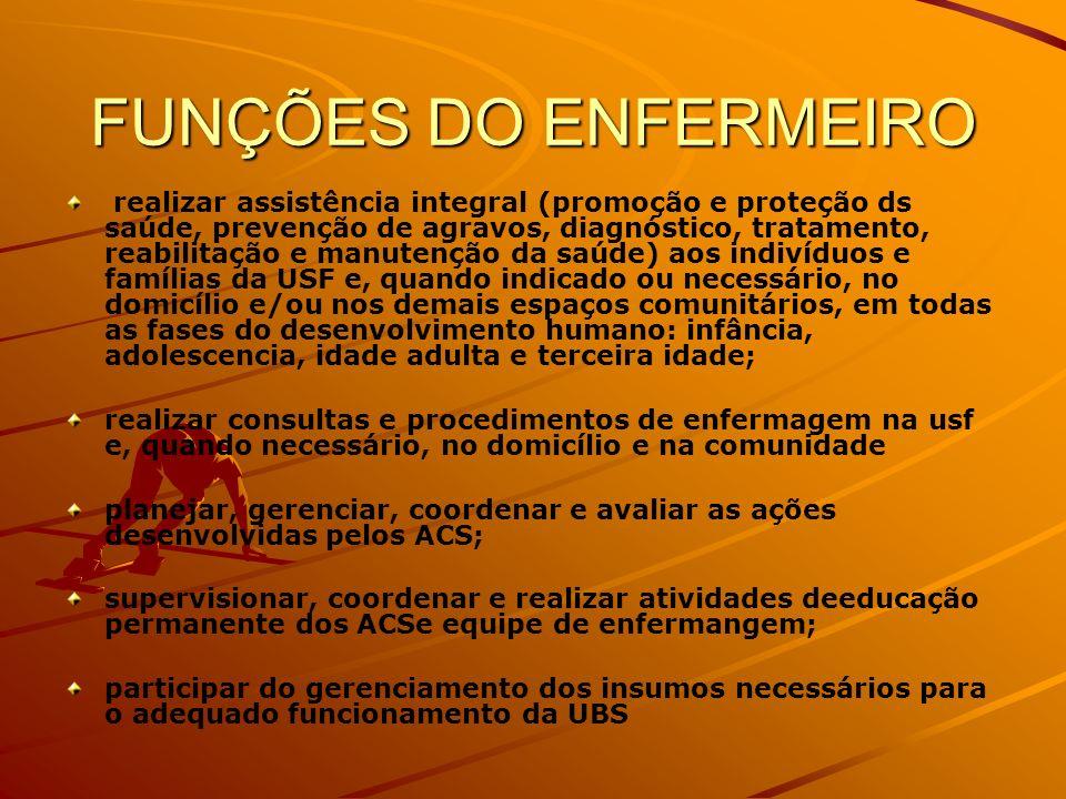 FUNÇÕES DO ENFERMEIRO realizar assistência integral (promoção e proteção ds saúde, prevenção de agravos, diagnóstico, tratamento, reabilitação e manut