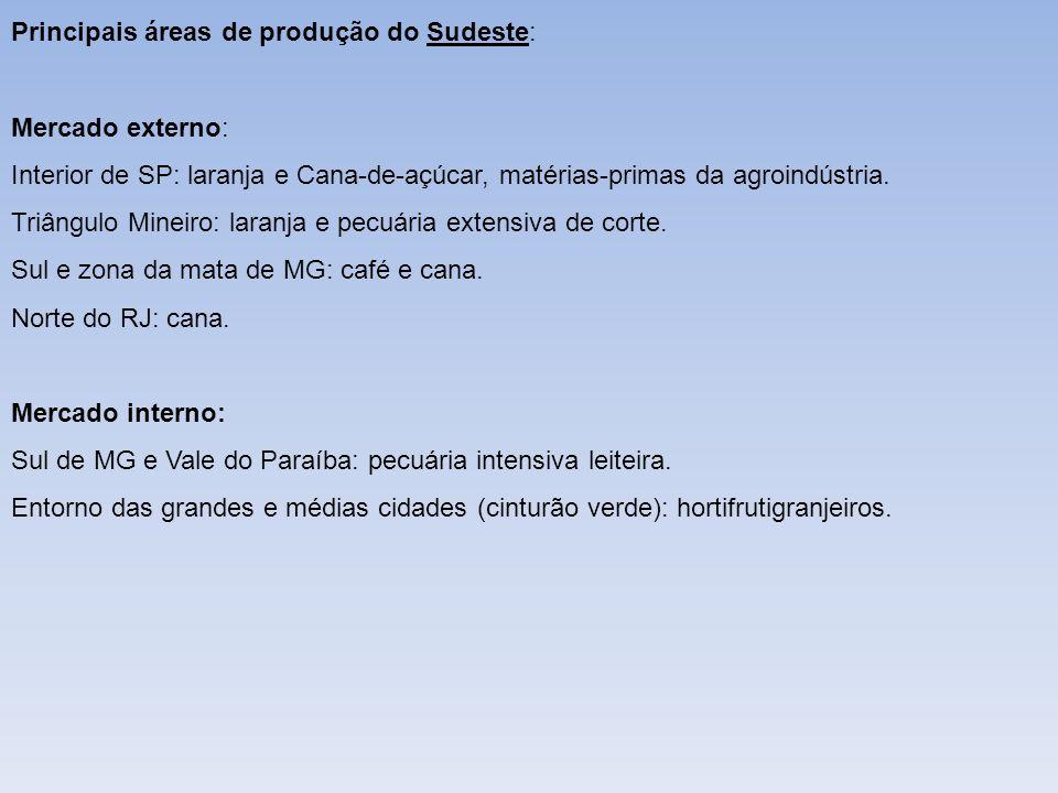 Principais áreas de produção do Sudeste: Mercado externo: Interior de SP: laranja e Cana-de-açúcar, matérias-primas da agroindústria. Triângulo Mineir