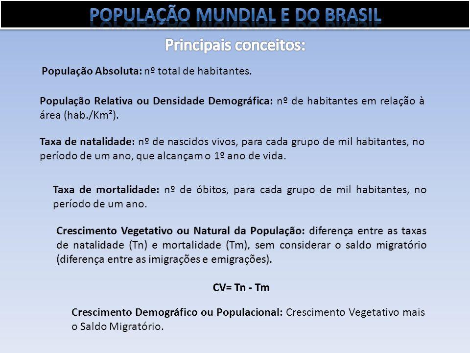 População Absoluta: nº total de habitantes. População Relativa ou Densidade Demográfica: nº de habitantes em relação à área (hab./Km²). Taxa de natali