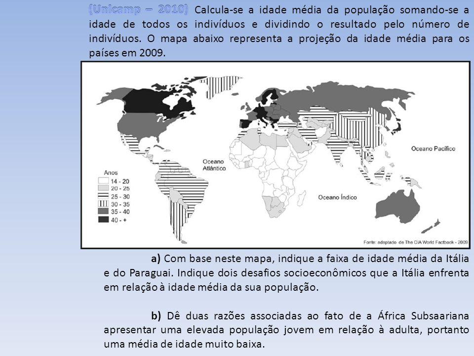 a) Com base neste mapa, indique a faixa de idade média da Itália e do Paraguai. Indique dois desafios socioeconômicos que a Itália enfrenta em relação