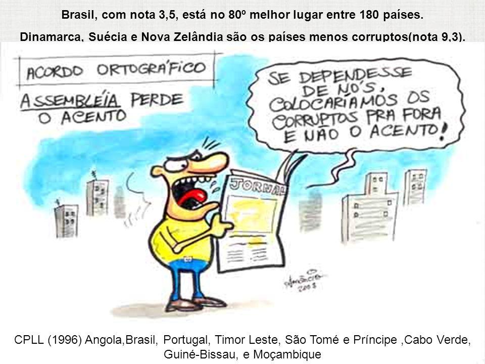 Brasil, com nota 3,5, está no 80º melhor lugar entre 180 países. Dinamarca, Suécia e Nova Zelândia são os países menos corruptos(nota 9,3). CPLL (1996