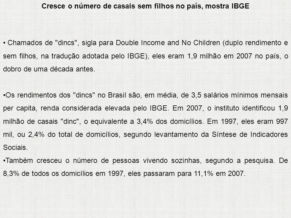 Cresce o número de casais sem filhos no país, mostra IBGE Chamados de