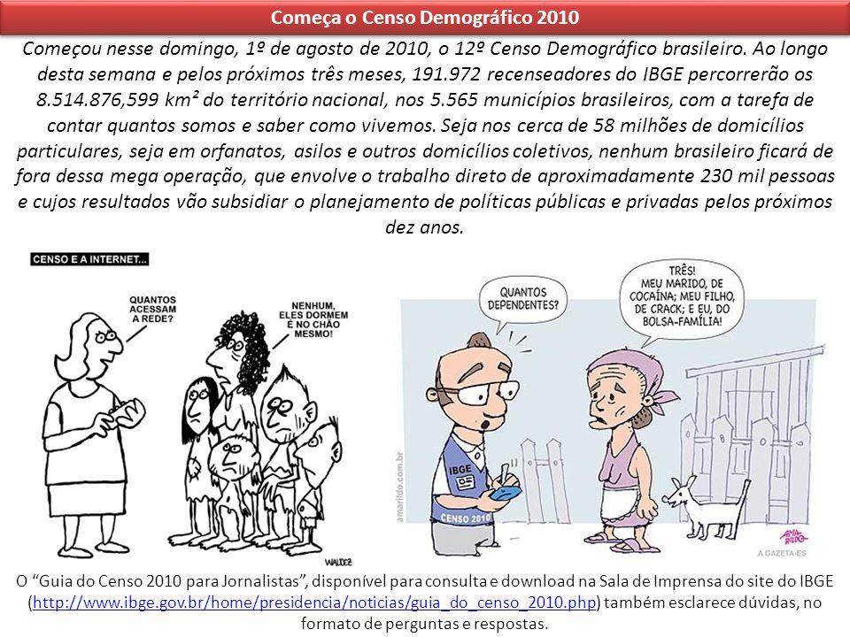 Começa o Censo Demográfico 2010 Começou nesse domingo, 1º de agosto de 2010, o 12º Censo Demográfico brasileiro. Ao longo desta semana e pelos próximo