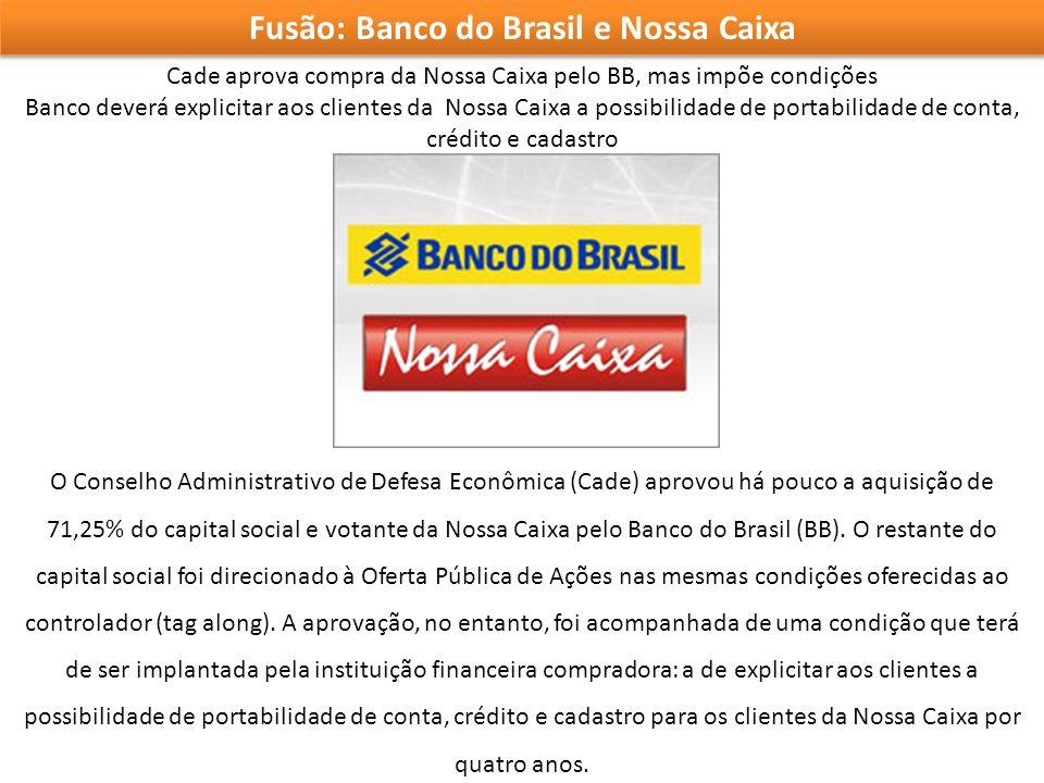 Fusão: Banco do Brasil e Nossa Caixa Cade aprova compra da Nossa Caixa pelo BB, mas impõe condições Banco deverá explicitar aos clientes da Nossa Caix