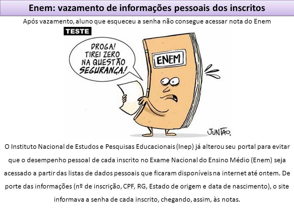 Enem: vazamento de informações pessoais dos inscritos Após vazamento, aluno que esqueceu a senha não consegue acessar nota do Enem O Instituto Naciona
