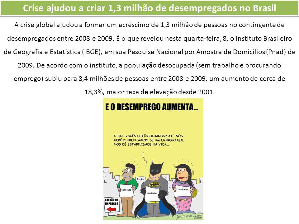 Crise ajudou a criar 1,3 milhão de desempregados no Brasil A crise global ajudou a formar um acréscimo de 1,3 milhão de pessoas no contingente de dese