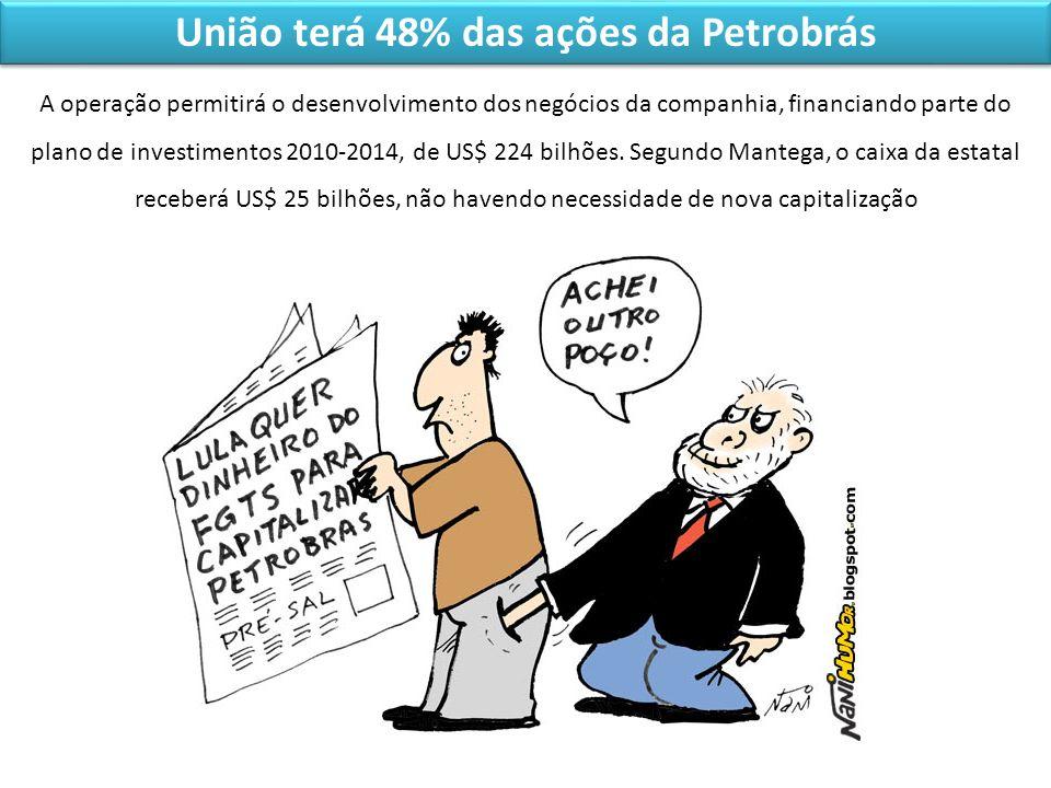 União terá 48% das ações da Petrobrás A operação permitirá o desenvolvimento dos negócios da companhia, financiando parte do plano de investimentos 20
