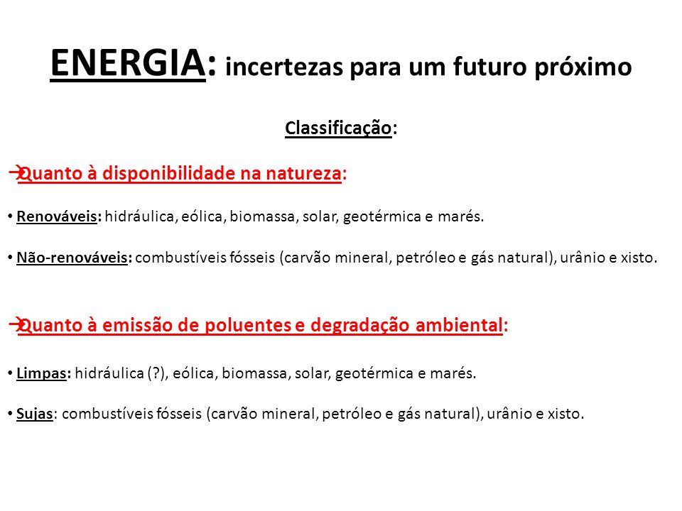 ENERGIA: incertezas para um futuro próximo Classificação: Quanto à disponibilidade na natureza: Renováveis: hidráulica, eólica, biomassa, solar, geoté